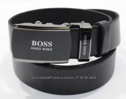 Кожаный ремень автомат мужской Hugo Boss черный