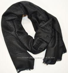Кашемировый палантин Christian Dior черный двусторонний