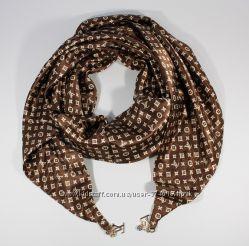 Стильный платок, косынка Louis Vuitton цвета кофе, атлас