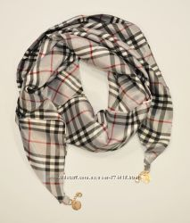Стильный платок, косынка Burberry серый, атлас