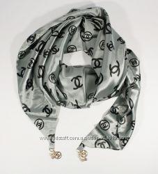 Стильный платок, косынка Chanel цвета металлик, атлас