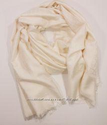 Кашемировый палантин Christian Dior молочный двусторонний