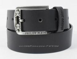 Кожаный ремень мужской джинсовый Philipp Plein 8008-401 черный 40 мм