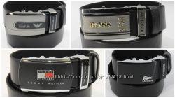 Кожаный ремень автомат мужской Tommy Hilfiger, Lacoste, Boss, G. Armani и д