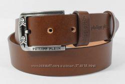 Кожаный ремень джинсовый Philipp Plein 8008-407 коричневый 40 мм
