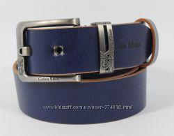 Кожаный ремень под джинсы Calvin Klein 8008-408 синий 40 мм