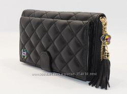 Кошелек женский кожаный на молнии Chanel 9047 черный, 18 отделов для карт
