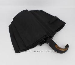 Мужской складной зонт полуавтомат KrisPils 004 черный с ручкой крюк