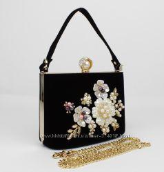 Велюровая сумочка, клатч rose heart 1661-4 черный