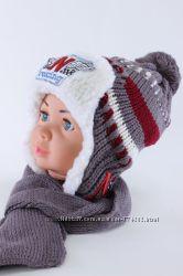Утепляем деток. Зимний комплект-шапка на меховом подклад и шарф