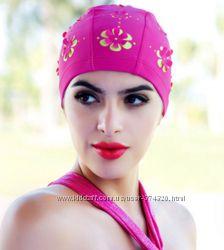 Шапочка для плавания с цветамиярко-розового