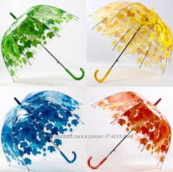 Прозрачный зонт Листья глубокий купол колокольчик