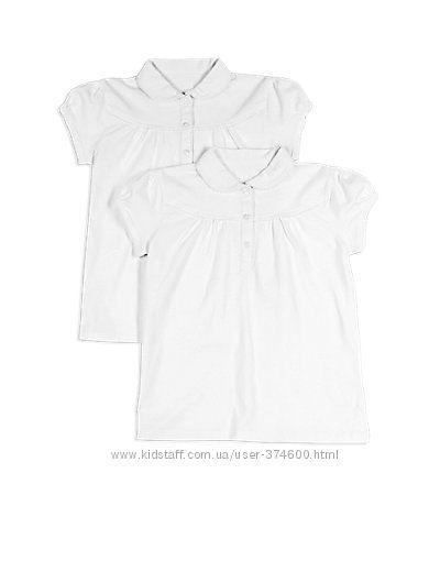 Школьная блуза-поло M&S для девочек 100 хлопок 9-10л 134-140