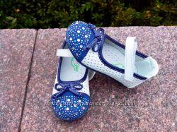 Туфли мокасины для девочки размер 21, 23 белые с синим