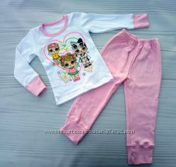 Тёплая пижама интерлок с начесом с куколкой lol лол размер 28