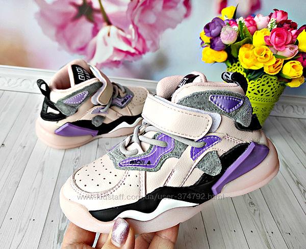 Кожаные деми хайтопы, кроссовки р-р 26-31 розовые, фирма kimbo-o