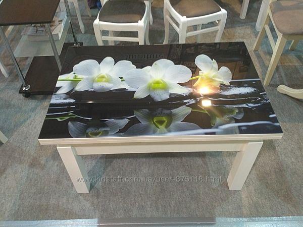 Стол-трансформер Флай белый со стеклом Орхидея