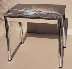 Стол Даллас нераскладной для кухни со стеклом 90х60см
