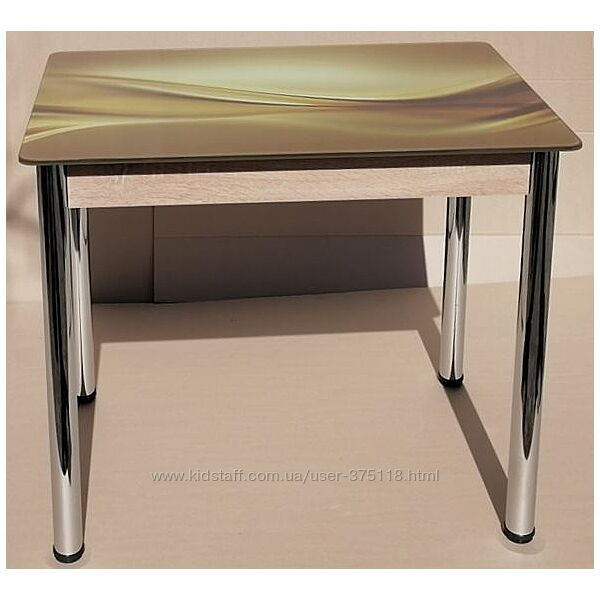 Стол кухонный нераскладной со стеклом фотопечать Даллас 90х60см