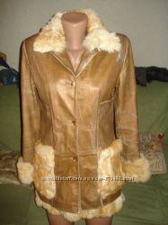 Куртка кожаная с мехом кролика