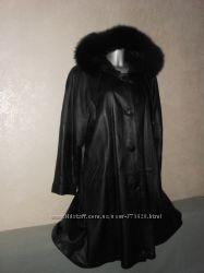 Италия кожаное утепленное пальто Натуральная кожа новое XL52-54