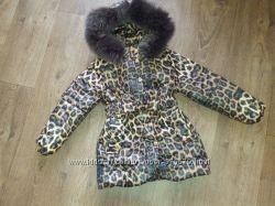 лео пальтишко- для девочки с мехом енот, песец, блюфрост