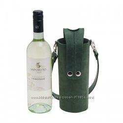 Кожаная сумка-чехол на кнопках для вина
