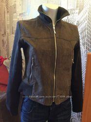 замшевая курточка с трикотажными рукавами