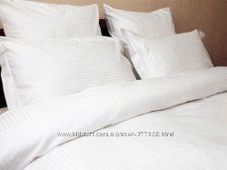 Постельное белье Отель Lotus - белое и в полоску
