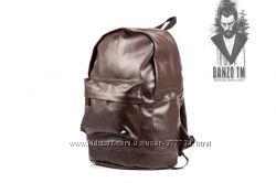 Кожаный PU городской рюкзак коричневый Nike, Adidas