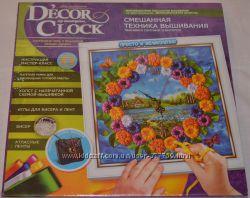 Вишивка-годинник бісером та стрічками Decor Clock
