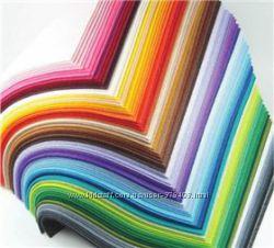 фетр в наличии 24 цвета, 1 мм, 21, 5 х 14 см. наборы дешевле
