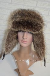 Теплая мужская шапка ушанка ушанка с мехом енота