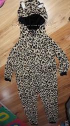 Женский стильный, плюшевый  домашний  леопардовый комбинезон 46р