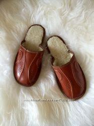 Тапочки кожаные на мехумужские