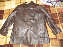 Кожанная куртка коричневого цвета, р. 52-54.