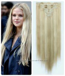 Волосы ТЕРМО на заколках 7 прядей Блонд