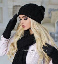 Черные перчатки митенки