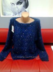 Модные пушистые пуловеры   травка  паетки.