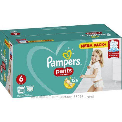 Pampers Трусики Pants Extra Large 6 15 кг 88шт памперс, памперсы