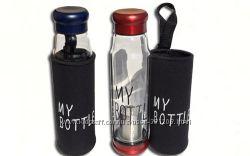 Бутылка My Bottle 550мл. стеклянная с чехлом и ситечком для заварки