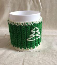 Вязаный чехол на чашку  чашка