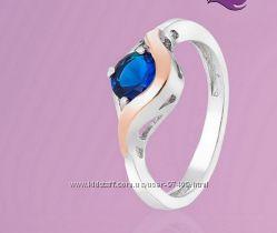 Серебряное кольцо с золотой пластиной р. 17
