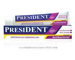 Зубная пастаPresiDENT Antibacterial Италия -мощная антибактериальная защита