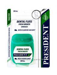 Зубная нить PresiDent Италия - с фтором, отбеливающая, мультиактивная