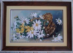 Картина лентами Ромашки в корзине