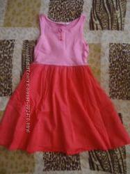 Розово-коралловое платье для девочки 4-6 лет