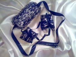 Сексуальный комплект кружевная атласная маска и наручники манжеты