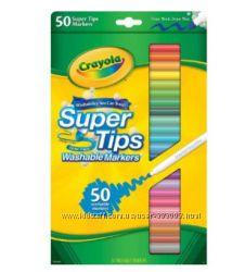 Фломастеры Crayola Большая пачка - 50 шт. супер смывающиеся, в наличии