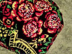 Распродажановая эффектная шапка в стиле Петриковская роспись с флисом